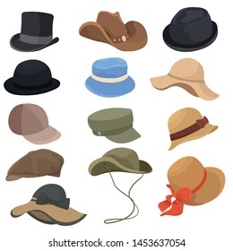 Set of hats for men and women. Collection of cartoon elegant hats. Vector illustration of classic clothes elements.