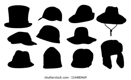 Set of Hats Silhouette