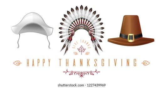 Set of hats for Thanksgiving Day celebration. Thanksgiving hats collection. Happy Thanksgiving. Give Thanks. Vector illustration