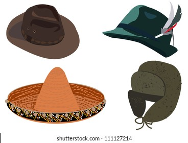 Set of hats vector illustration isolated on white background