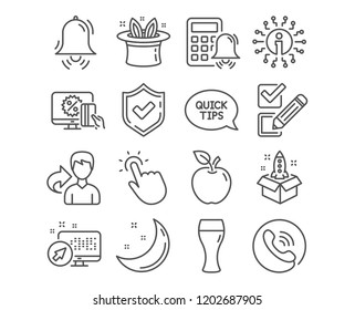 Set of Hat-trick, Clock bell and Checkbox icons. Quickstart guide, Online shopping and Touchpoint signs. Beer glass, Calculator alarm and Startup symbols. Magic hat, Alarm, Survey choice. Vector