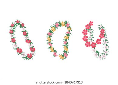 Set of Hawaiian tropical floral garlands, cartoon vector illustration isolated on white background. Wedding and holiday garlands with tropical flowers.