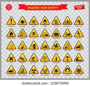set of hazard sign safety (general warning, laser radiation, biohazard,   oxidising, flammable materials, explotion risk, toxic, corrosive, high   voltage, battery hazard, cutter, high temperature)