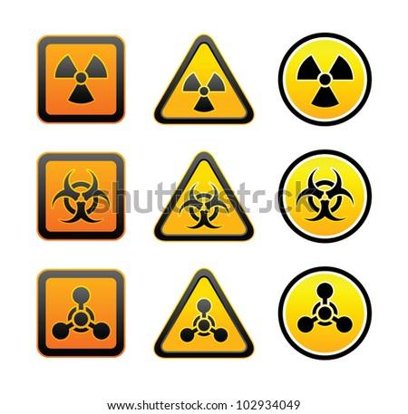 Set Hazard Warning Radioactive Symbols Radiation Stock Vector