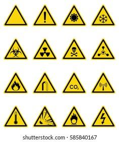 Set of hazard warning sign. Vector, illustration