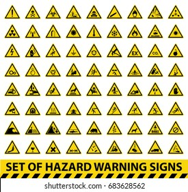 Set of hazard warning signs. Symbol, vector, illustration