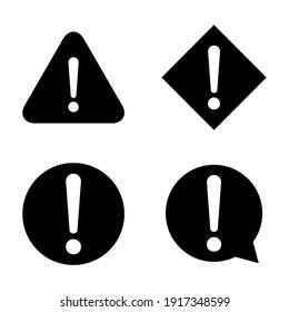Set of hazard warning, warn symbol vector icon flat sign symbol with exclamation mark isolated on white background
