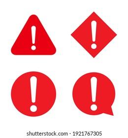 Set of hazard warning, warn symbol vector icon flat sign symbol with exclamation mark isolated on white background .