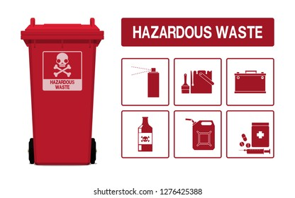 Set of hazardous waste icon on transparent background