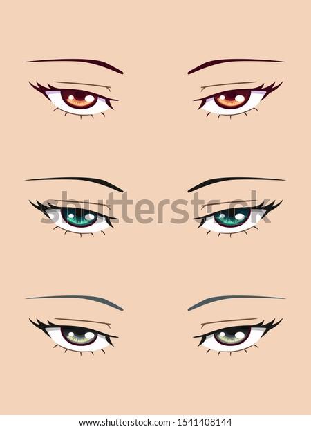 Set Hazel Grey Turquoise Anime Eyes Stock Vector Royalty Free 1541408144