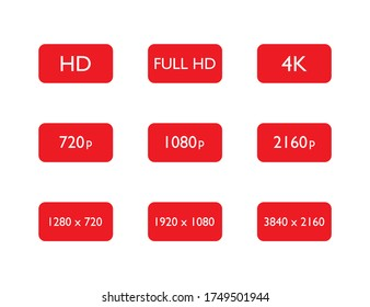 Set of hd, full hd and 4k resolution. 720p, 1080p and 2160p pixel of display or video quality. 1920x1080 media definition. Widescreen film. Movie quality symbol. Vector EPS 10.