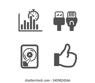 Set of Hdd, Computer cables and Report timer icons. Like sign. Memory disk, Rj45 internet, Growth chart. Thumbs up.  Classic design hdd icon. Flat design. Vector
