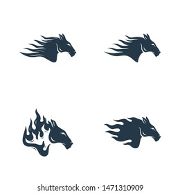 Set of Head Horse logo design vector. Horse Fire logo template. Illustration Vector