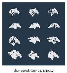 Set of Head Horse logo design vector. Horse Fire logo template. Illustration Vector