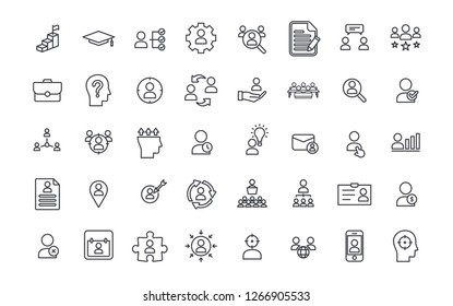 Set of Head Hunting Related Vector Line Icons. Contains such Icons as Job Interview, Career Path, Resume and more. Teamwork. Human resources vector. Partnership. Candidate, career, resources, skill