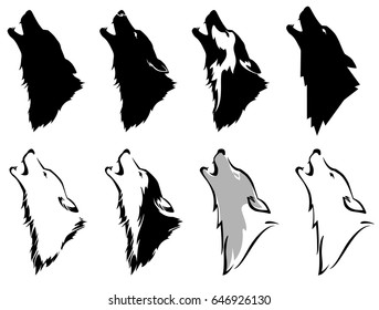Set the head of a wolf. Silhouette and styling the head for your design. Vector illustration, isolated objects