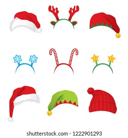 Set of headbands and hats for Christmas new year party accesaories and props