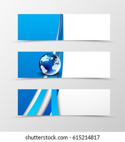 Set of header banner digital design with blue waves and globe in futuristic style. Vector illustration