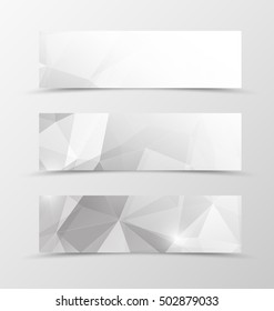 Set of header banner geometric design in gray colors in polygonal style. Vector illustration