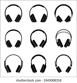 Set of headphone icons for audio experience. Vector illustration