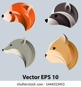 A set of heads of animals in profile, for the logo. In the circle, the golden ratio. On a light background. Vector illustration EPS 10