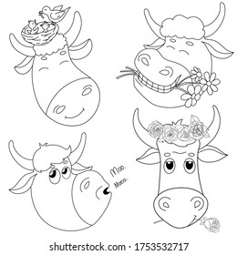 Set with the heads of cute bulls. Portrait. Cartoon bulls with flowers on their heads and in their mouths smile. Black and white vector illustration. Black outline on a white background.