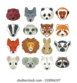 Set with heads of various wild animals
