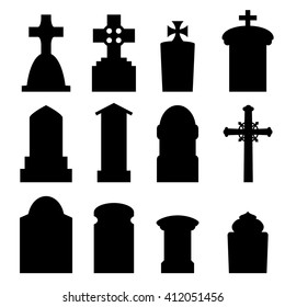 Set of headstone, headstone and tombstone silhouette in europe style. vector illustration.