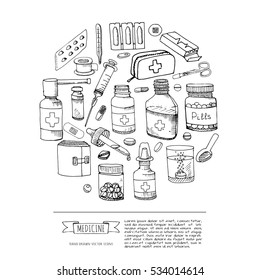 Set of health care and medicine hand drawn icons, doodle medical elements. Background with wellness freehand drawings. Vector sketch illustration. Pills drug, patch, injection, pharmacy syrup, capsule