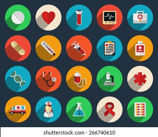 Set of health care and medicine icons in flat style. Pharmacy symbol sign, syringe and tablets, vector illustration