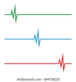 set Health Care Pulse Cardiogram Logo Template