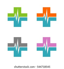 Set Health Care Pulse and Cross Logo Template Illustration Design. Vector EPS 10.
