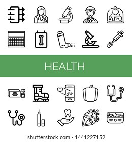 Set of health icons such as Air quality, Sugar, Veterinarian, X ray, Microscope, Inhaler, Doctor, Love, Vaccine, Tea bag, Phonendoscope, Ice skate, Eyeliner, Tooth, Pepper , health