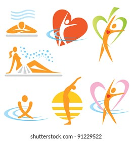 Set of health, sauna, spa icons. Vector illustration.
