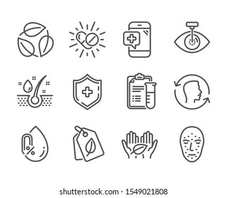 Set of Healthcare icons, such as Face biometrics, No alcohol, Serum oil, Medical shield, Fair trade, Face id, Medical drugs, Bio tags, Eye laser, Leaves line icons. Face biometrics icon. Vector