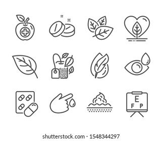 Set of Healthcare icons, such as Mint bag, Medical food, Capsule pill, Local grown, Hypoallergenic tested, Leaf, Eye drops, Blood donation, Medical tablet, Skin care, Vision board. Vector