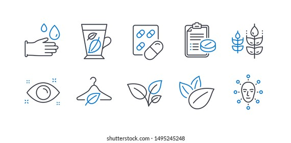 Set of Healthcare icons, such as Slow fashion, Rubber gloves, Medical prescription, Leaves, Organic product, Gluten free, Mint leaves, Health eye, Capsule pill, Face biometrics line icons. Vector