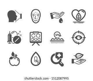 Set of Healthcare icons, such as Vision board, Leaf, Medical drugs, Eco food, Face biometrics, Local grown, Face id, No alcohol, Uv protection, Wash hands, Eye target, Medical analyzes. Vector
