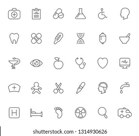 Set of healthcare and medicine outline vector icons