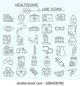 Set healthcare vector line icons, editable stroke