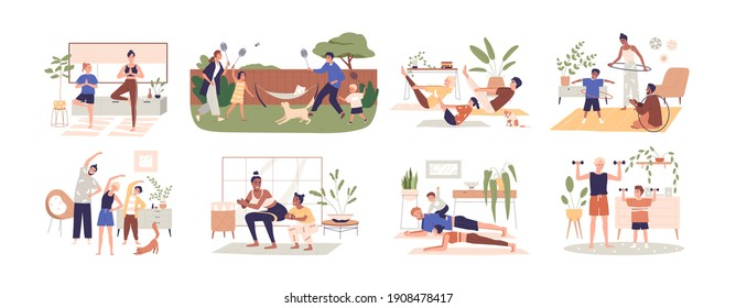 Set of healthy families doing sport exercises at home together. Happy parents workout with kids, practice yoga indoors and outdoors. Colored flat vector illustration isolated on white background