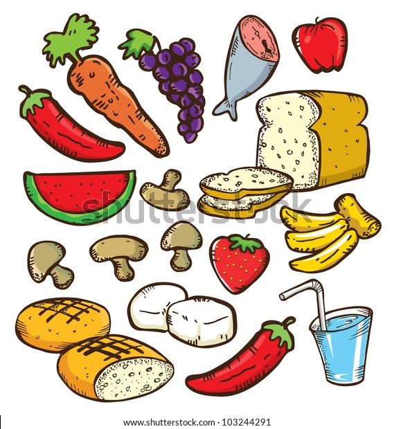 Set Healthy Food Doodle Style Stock Vector (Royalty Free
