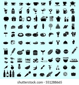 Set of healthy food and drink black icon and pictogram vector. Isolated kitchen icon for restaurant