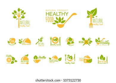 Set of healthy food and drinks logos. Natural product. Vegetarian nutrition. Vector emblems for cafe, restaurant or farm market