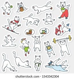 Set of healthy lifestyle stickers. Funny illustration of cute white cats doing physical activity. Vector 8 EPS.