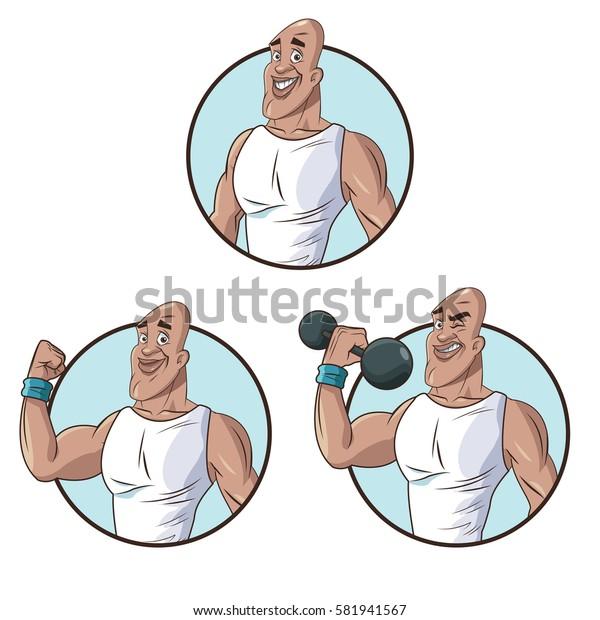 set healthy man athletic muscular
