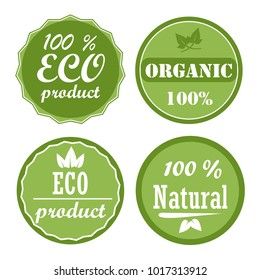 Set of healthy organic food labels and high quality product badges. Eco product, 100% organic and natural icons. Vector