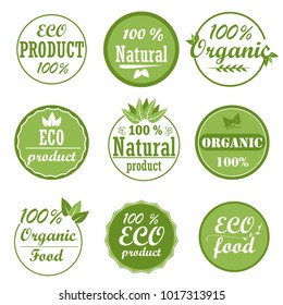 Set of healthy organic food labels and high quality product badges. Eco, 100% organic and natural product icons. Collection emblems for cafe,  packaging etc. Vector