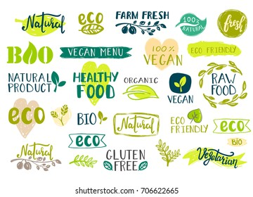 Set of healthy organic food labels, logos for vegan cafe, farm market and organic products packaging. Bio, Ecology, Organic tags.