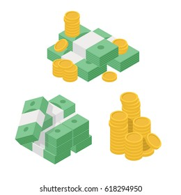 Set heaps of money. Various kind of money with dollar and gold coin. Concept of big money. Big pile of cash. Hundreds of dollars. Isometric flat vector illustration